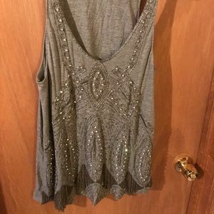Joie Grey Embellished tank top size Large